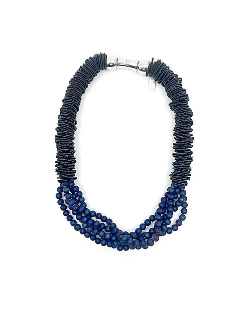 black spring ring necklace with 5 strands mini blue geodes