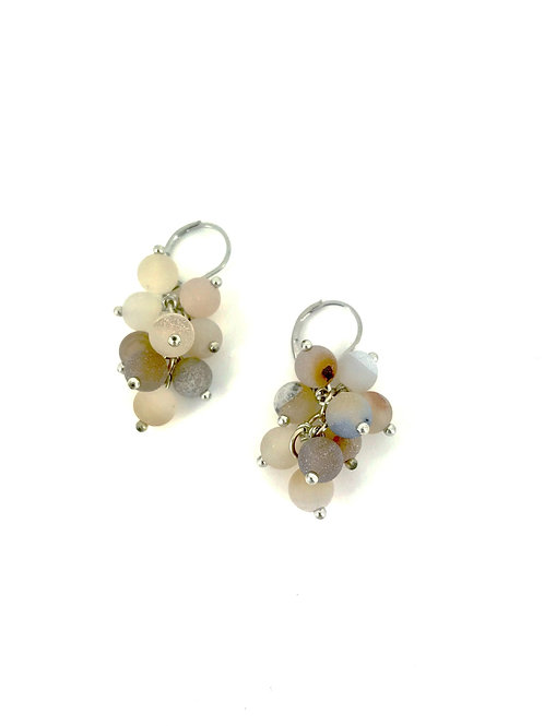 earring grape cluster silver/apricot