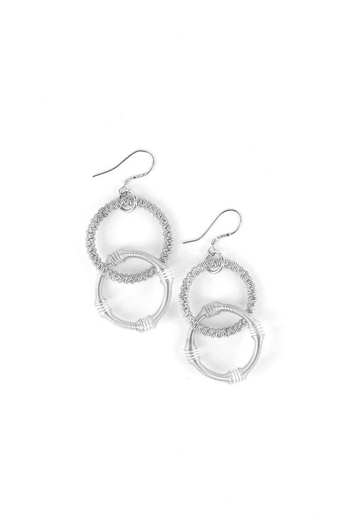 small silver double loop piano wire earring