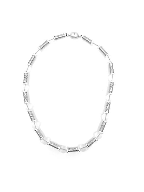 short silver tube necklace with frost beads