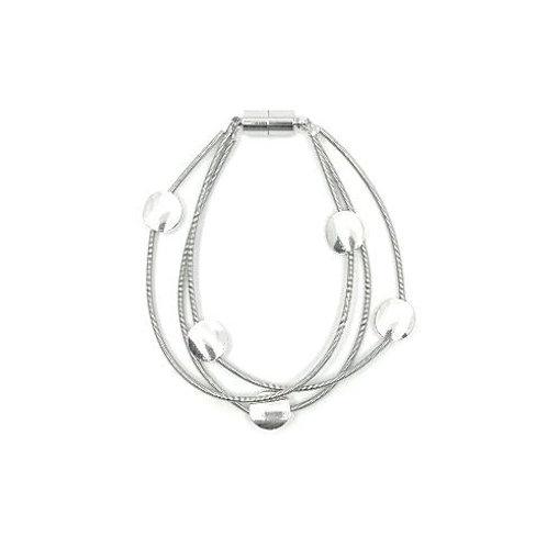 3 strand wire bracelet with silver discs
