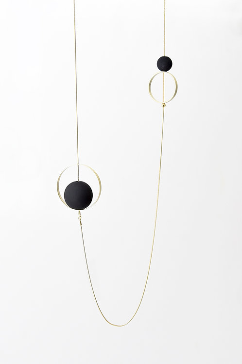 Spindles Long Necklace Gold Black