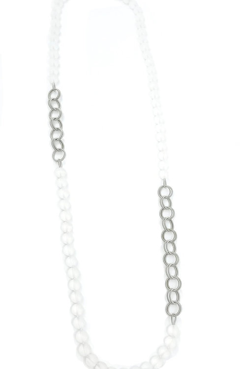 long frost beads with small gold chain necklace