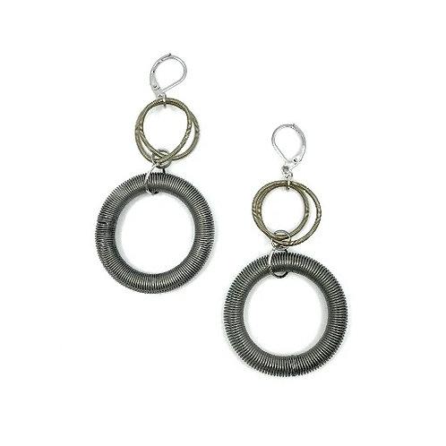 slate and bronze large loop drop earring