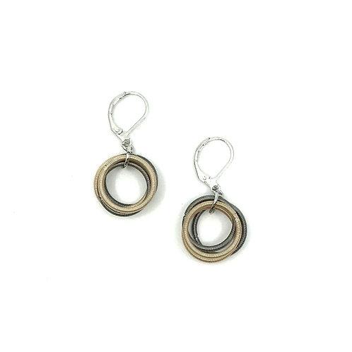 Champagne/slate piano wire loop earring