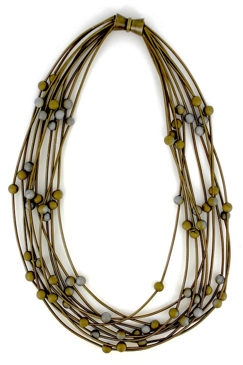 10 layer bronze necklace with silver and gold geo