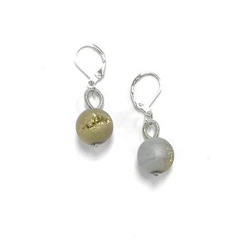 silver and gold geo earring