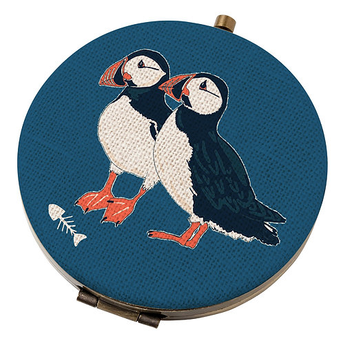 PEONY PUFFIN COMPACT MIRROR, Min Qty: 6