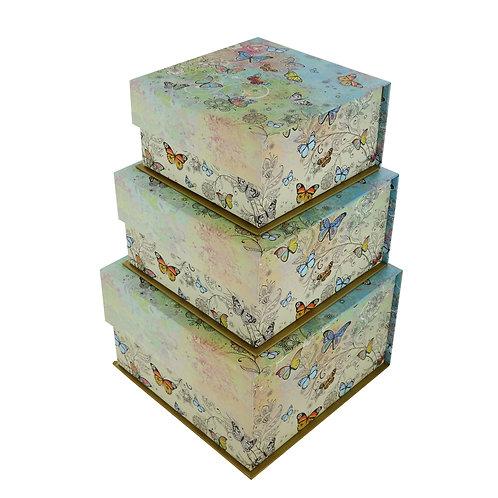 BUG ART BUTTERFLIES SET OF 3 SQ TAB BOXES, Min Qty: 1