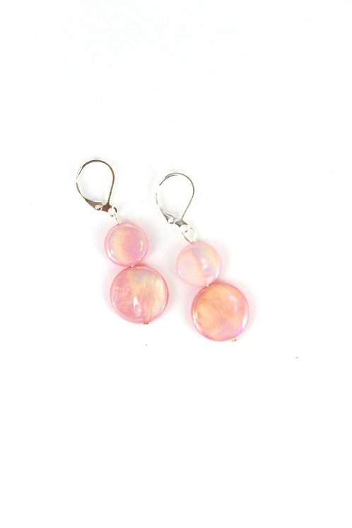 mother of pearl earring-pink