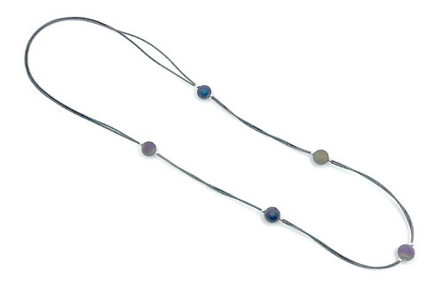 long 2 strand slate p.w. necklace with irri geodes