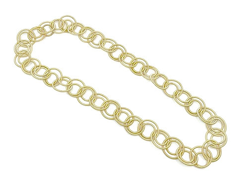 bright gold long multi loop necklace
