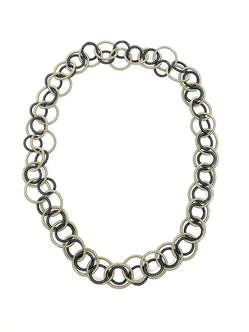 bronze and black long multi loop neckace