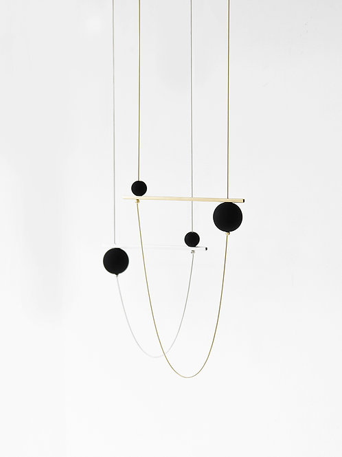 Abacus Long Necklace Gold Black