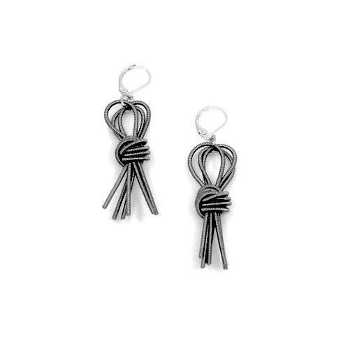 slate knot tassel earring