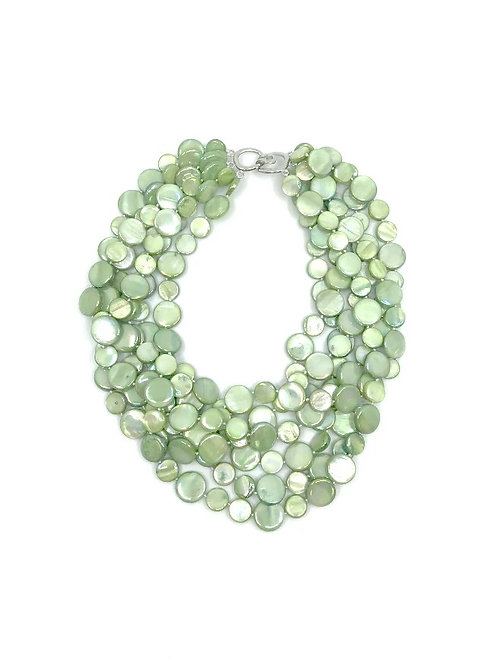 5 strand mother of pearl necklace lime