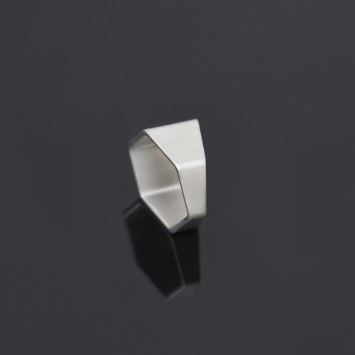 Hex Ring (Satin Silver)