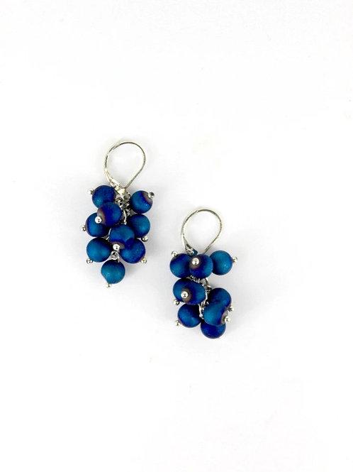 earring grape cluster silver/blue