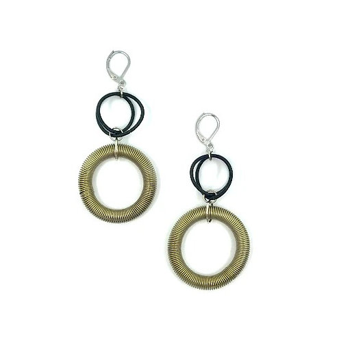 bronze and black large loop drop earring