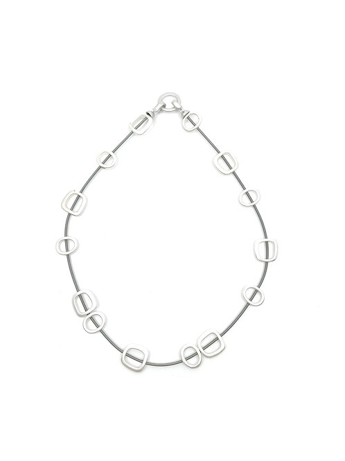 wire necklace with silver squares and metal clasp