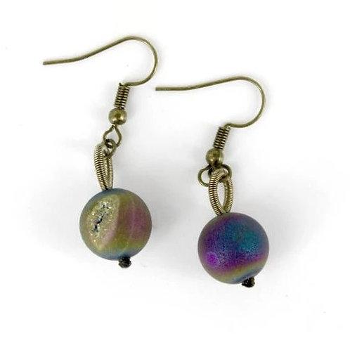bronze irri geode earring