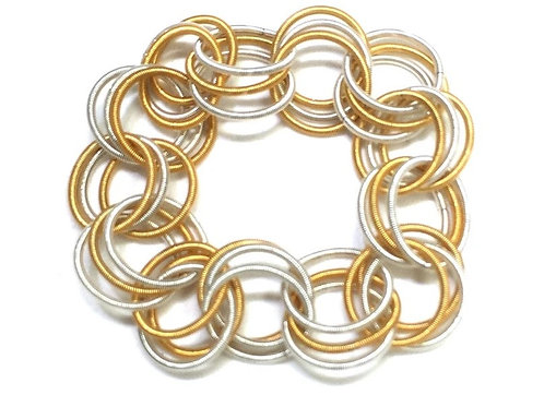 white and gold spring ring bracelet