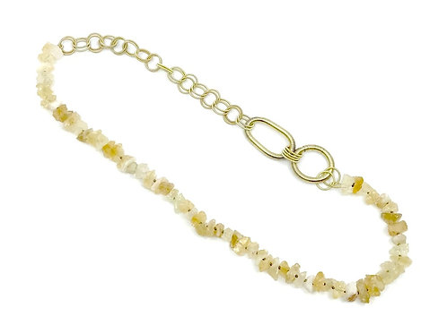 Long citrine necklace with gold p.w. rings