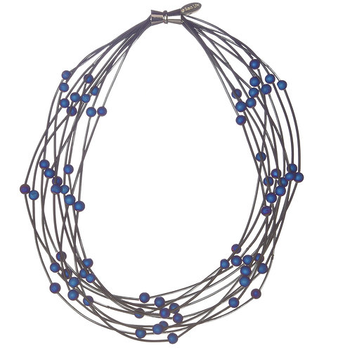 10 layer black necklace with blue geo