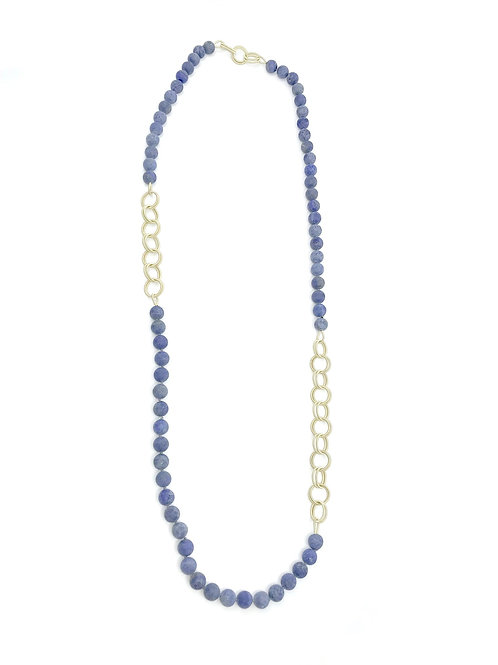 long lapiz beads with small gold chain necklace