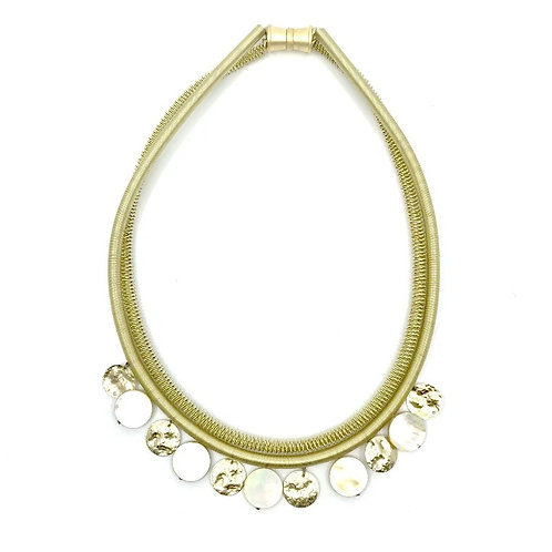 gold wire necklace with gray mop disc