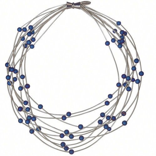 10 layer silver necklace with blue geo