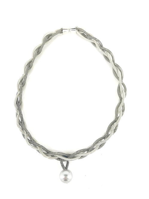 silver-slate braided necklace with gray pearl drop