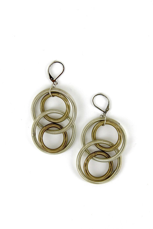 silver-bronze large loop earring