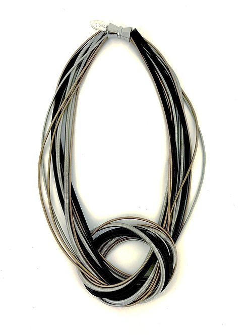 blk-silver-rose multi strand knot necklace