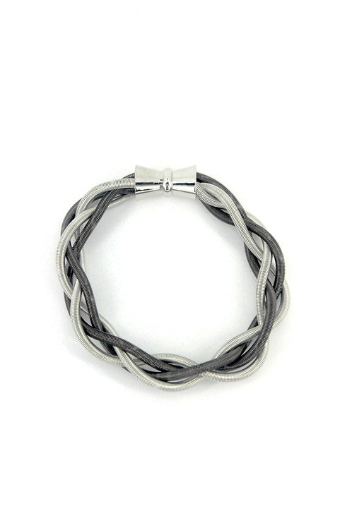 silver-slate braided bracelet with magnet