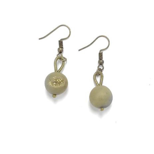 bronze earring with gold geo