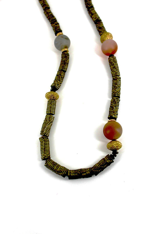 long slate flower hematite necklace with rose glass beads