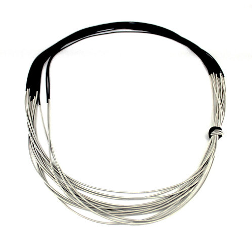silver-black two tone long necklace on bias with single knot