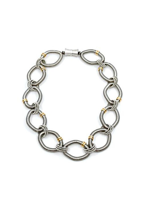 large round silver wire rings short necklace