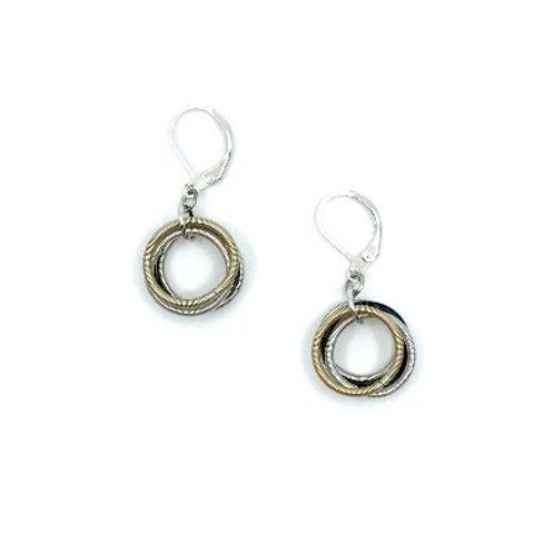 blk-silver-rose loop earring