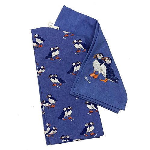 PEONY PUFFIN TEA TOWEL SET OF 2, Min Qty: 4