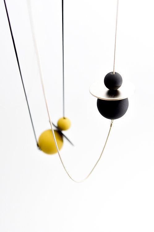 Astro Long Necklace Silver Black
