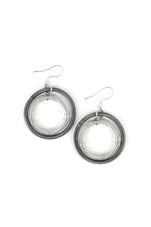 large silver and slate double loop piano wire earring