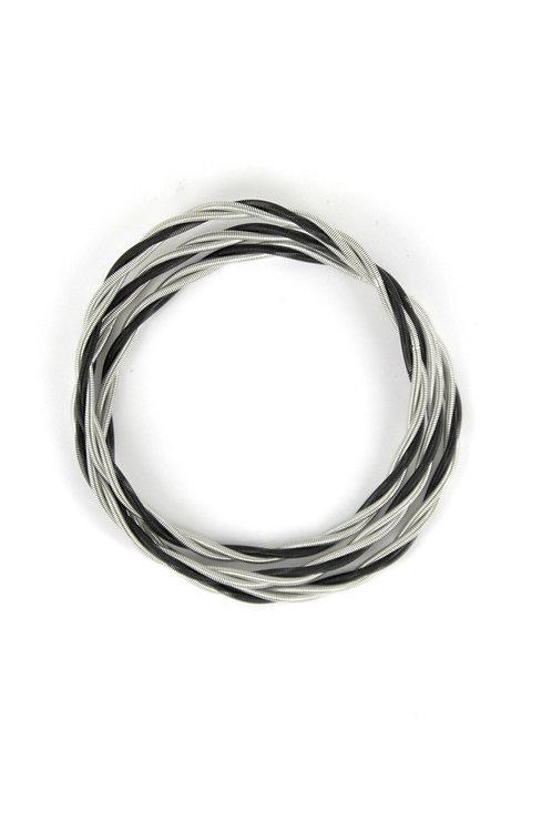 silver-black unbound twist bracelets