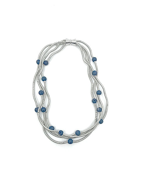 short silver wave wire necklace with tiny blue geodes