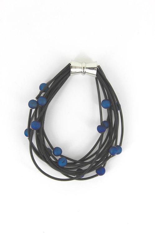 10 layer black bracelet with blue geo
