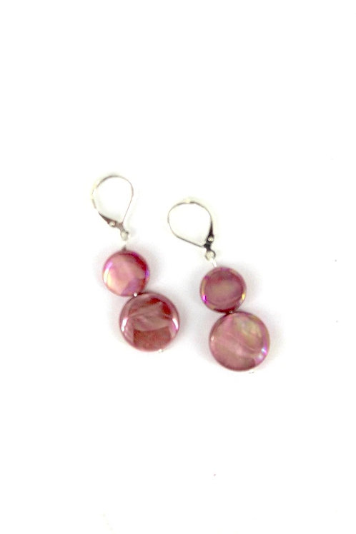 mother of pearl earring-salmon