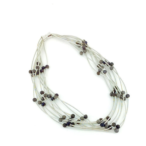 10 layer silver necklace with gray geo