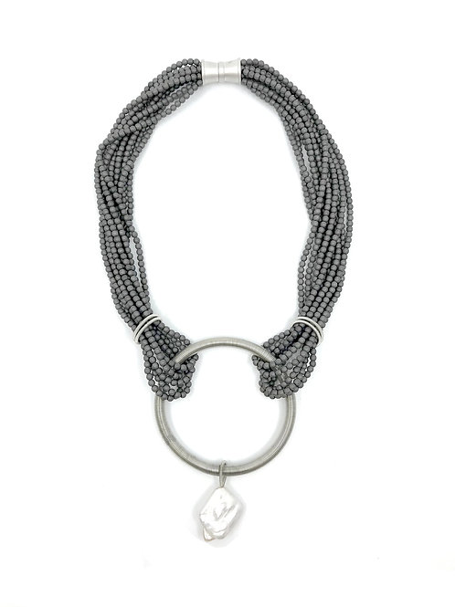 gunmetal matte hematite necklace with silver ring and baroque pearl