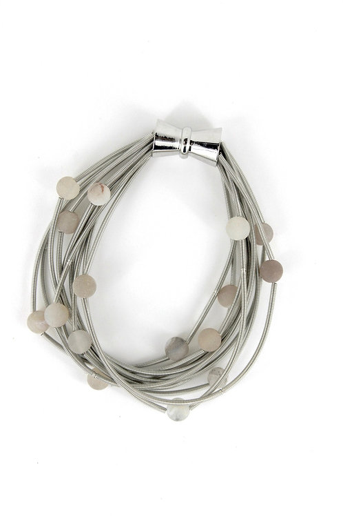10 layer silver bracelet with apricot geo